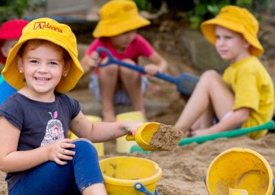 In the sandpit at Adeona Mackay