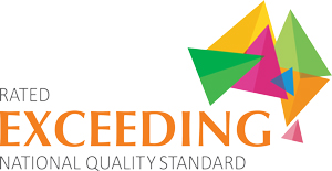the icon for a childcare centre rated exceeding the national quality standard